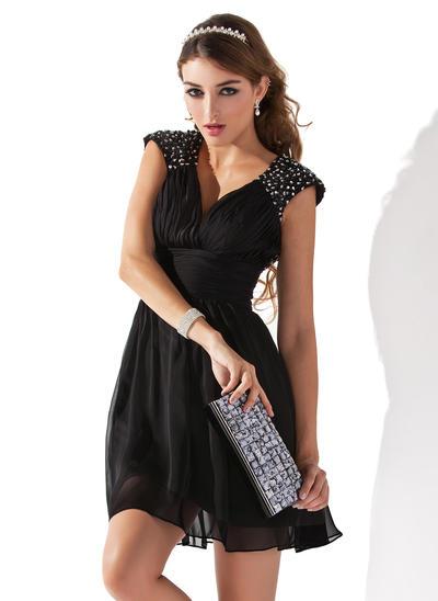 A-Line/Princess V-neck Chiffon Sleeveless Short/Mini Ruffle Beading Sequins Cocktail Dresses (016005831)