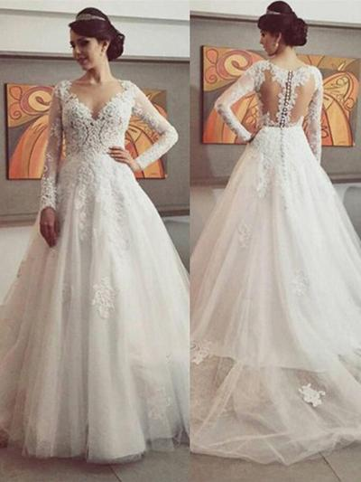 Beautiful Court Train Chapel Train Ball-Gown Wedding Dresses Scoop Tulle Long Sleeves (002144818)