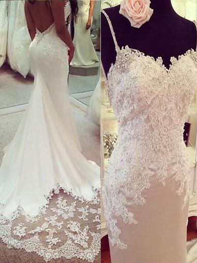 Newest Court Train Trumpet/Mermaid Wedding Dresses V-neck Charmeuse Sleeveless (002210834)