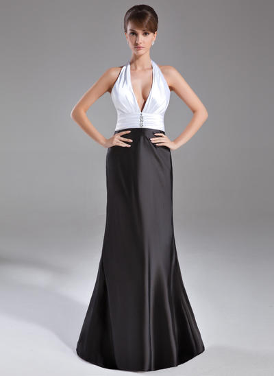 Trumpet/Mermaid Halter Charmeuse Sleeveless Sweep Train Ruffle Beading Evening Dresses (017020734)