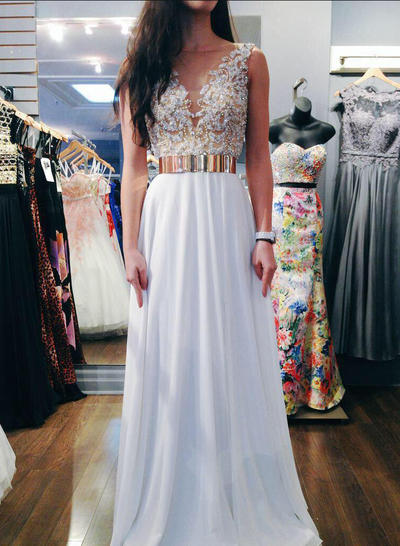Chiffon Sleeveless A-Line/Princess Prom Dresses V-neck Sash Beading Sequins Floor-Length (018148450)