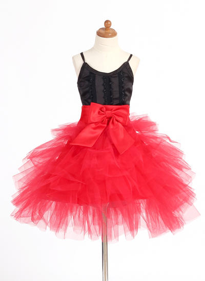 Elegant Short/Mini A-Line/Princess Flower Girl Dresses Straps Satin/Tulle Sleeveless (010007668)