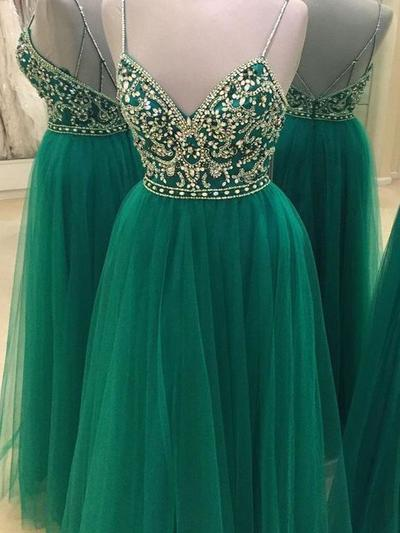 Tulle Sleeveless A-Line/Princess Prom Dresses V-neck Beading Floor-Length (018210322)