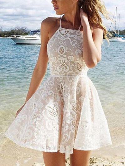 A-Line/Princess Halter Lace Sleeveless Short/Mini Cocktail Dresses (016145277)
