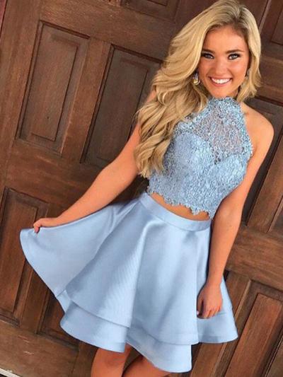 A-Line/Princess High Neck Satin Sleeveless Short/Mini Lace Homecoming Dresses (022212431)