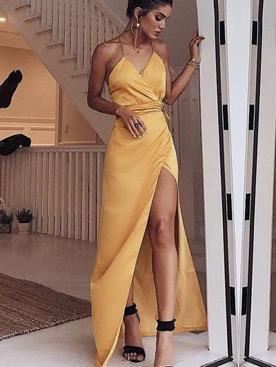 Sheath/Column V-neck Satin Sleeveless Floor-Length Ruffle Sash Split Front Evening Dresses (017219191)