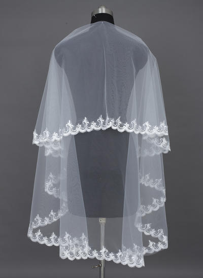Elbow Bridal Veils Tulle One-tier Classic With Lace Applique Edge Wedding Veils (006151376)