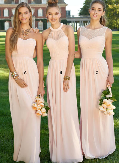 Chiffon Sleeveless A-Line/Princess Bridesmaid Dresses Sweetheart Ruffle Floor-Length (007211585)
