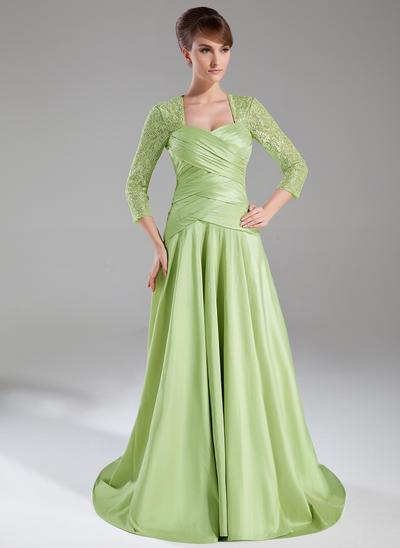 A-Line/Princess Sweetheart Taffeta Lace 3/4 Sleeves Sweep Train Ruffle Mother of the Bride Dresses (008005950)