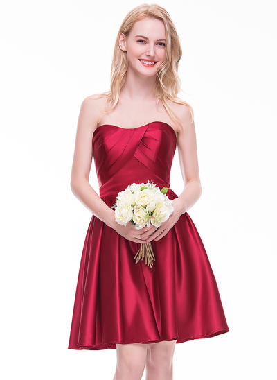 Satin Sleeveless A-Line/Princess Bridesmaid Dresses Sweetheart Ruffle Knee-Length (007072800)