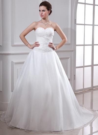 2019 New Chapel Train Ball-Gown Wedding Dresses Sweetheart Satin Organza Sleeveless (002001638)