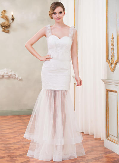Chic Floor-Length Trumpet/Mermaid Wedding Dresses Sweetheart Tulle Lace Sleeveless (002210556)