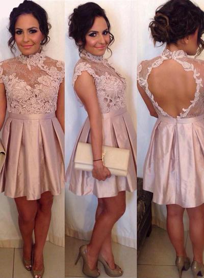 A-Line/Princess High Neck Satin Sleeveless Short/Mini Cocktail Dresses (016145309)