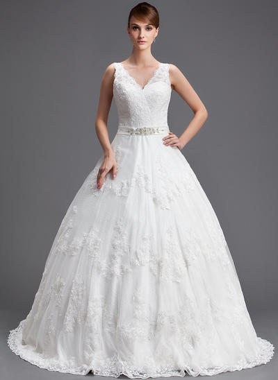 2019 New Chapel Train Ball-Gown Wedding Dresses Sweetheart Tulle Sleeveless (002196831)