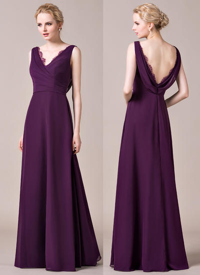 Chiffon Sleeveless A-Line/Princess Bridesmaid Dresses V-neck Ruffle Lace Floor-Length (007198833)