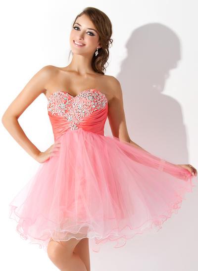 A-Line/Princess Sweetheart Tulle Sleeveless Short/Mini Ruffle Beading Sequins Homecoming Dresses (022008959)