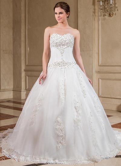 Fashion Chapel Train Ball-Gown Wedding Dresses Sweetheart Organza Sleeveless (002000281)