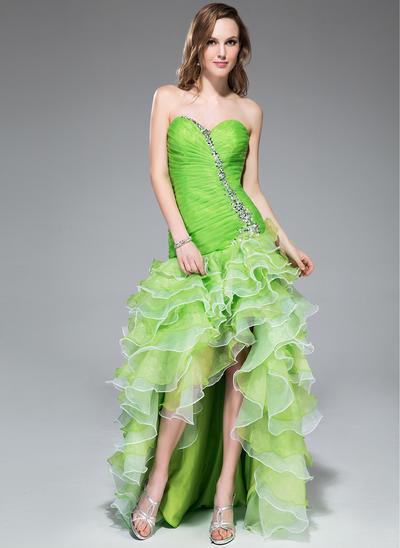 Organza Sleeveless A-Line/Princess Prom Dresses Sweetheart Beading Sequins Cascading Ruffles Asymmetrical (018043240)