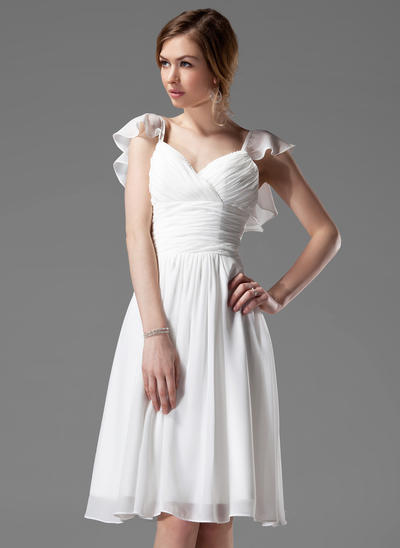 Chiffon Sleeveless A-Line/Princess Bridesmaid Dresses V-neck Beading Cascading Ruffles Knee-Length (007004117)