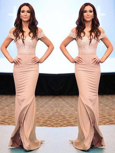 Stretch Crepe Sleeveless Trumpet/Mermaid Prom Dresses Off-the-Shoulder Appliques Sweep Train (018210373)