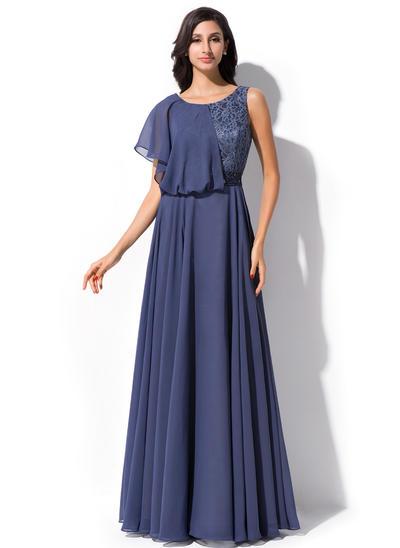 A-Line/Princess Scoop Neck Chiffon Lace Short Sleeves Floor-Length Beading Sequins Cascading Ruffles Evening Dresses (017052649)