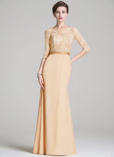 Trumpet/Mermaid Scoop Neck Chiffon Lace 1/2 Sleeves Floor-Length Beading Sequins Mother of the Bride Dresses (008211530)