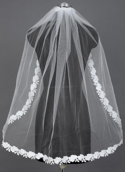 Fingerspitze Braut Schleier Tüll Einschichtig Ovale/Mantilla mit Spitze Saum Brautschleier (006151571)