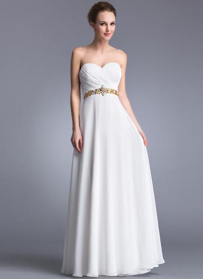Chiffon Sleeveless A-Line/Princess Prom Dresses Sweetheart Ruffle Beading Floor-Length (018041058)