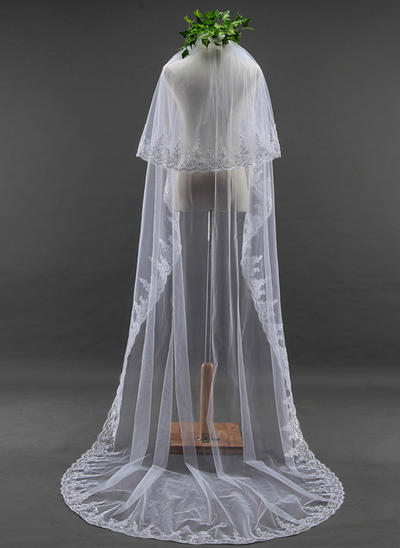 Cathedral Bridal Veils Tulle Two-tier Oval With Lace Applique Edge Wedding Veils (006152162)