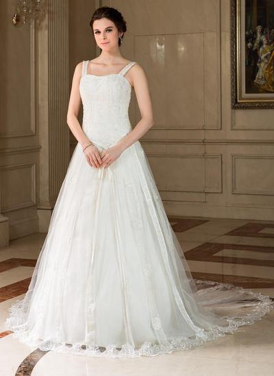 Gorgeous Chapel Train A-Line/Princess Wedding Dresses Sweetheart Tulle Sleeveless (002000425)