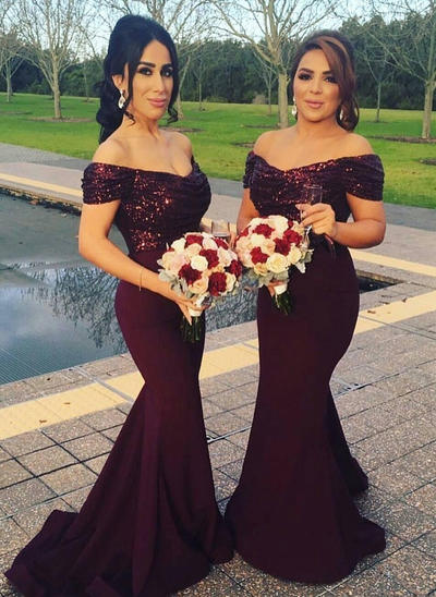 Satin Sequined Sleeveless Trumpet/Mermaid Bridesmaid Dresses Off-the-Shoulder Ruffle Sweep Train (007146968)