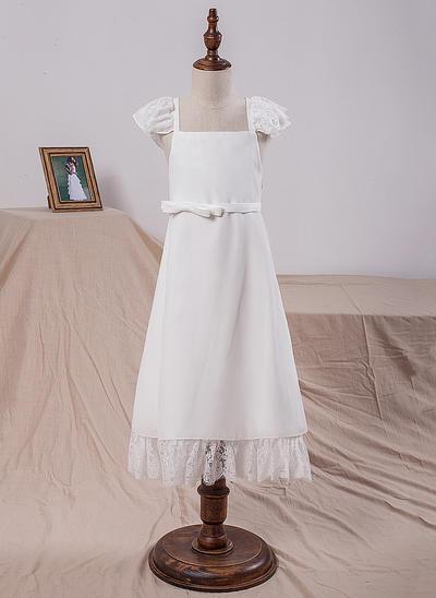 Newest Tea-length A-Line/Princess Flower Girl Dresses Square Neckline Chiffon Sleeveless (010212061)