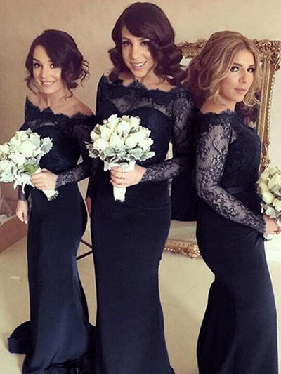 Stretch Crepe Long Sleeves Sheath/Column Bridesmaid Dresses Off-the-Shoulder Sweep Train (007145014)