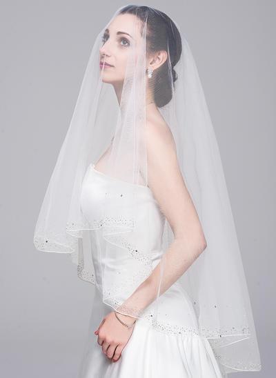 Fingerspitze Braut Schleier Tüll Einschichtig Klassische Art mit Perlenbesetzter Saum Brautschleier (006151848)