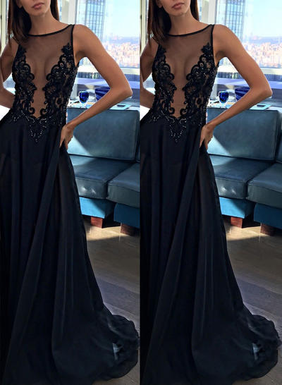 Tulle Sleeveless A-Line/Princess Prom Dresses Scoop Neck Appliques Lace Sweep Train (018145959)
