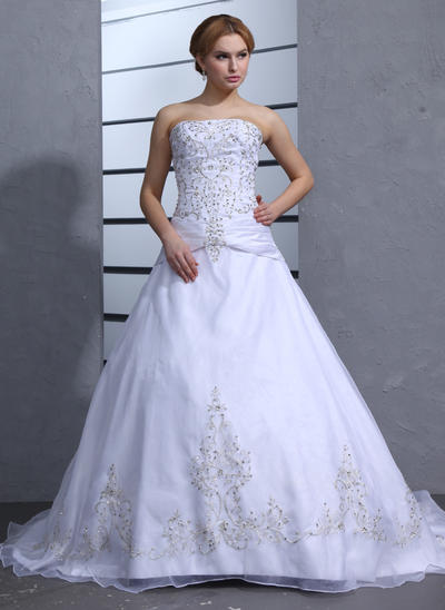 Luxurious Chapel Train Ball-Gown Wedding Dresses Strapless Satin Organza Sleeveless (002000239)