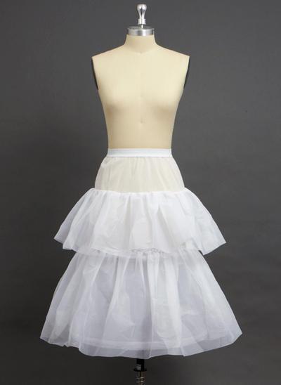 Unterröcke Knielang Nylon/Tüll Netting Volle Kleid Gleiten/Blume Mädchen Gleiten 2 Ebenen Reifröcke (037190760)