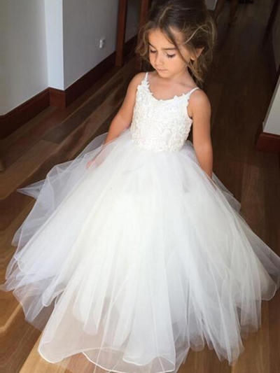 Stunning Floor-length Ball Gown Flower Girl Dresses Scoop Neck Tulle/Lace Sleeveless (010145213)