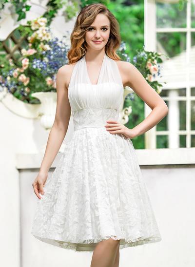 Elegant Asymmetrical A-Line/Princess Wedding Dresses Halter Chiffon Lace Sleeveless (002211513)