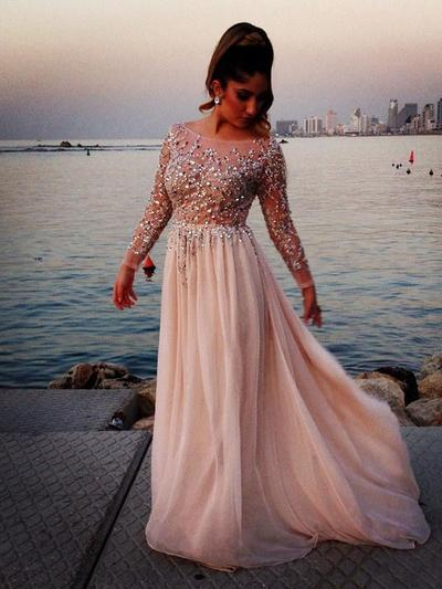 A-Line/Princess Scoop Neck Chiffon Long Sleeves Sweep Train Beading Evening Dresses (017216898)