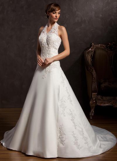 Gorgeous Chapel Train A-Line/Princess Wedding Dresses Halter Satin Sleeveless (002211066)
