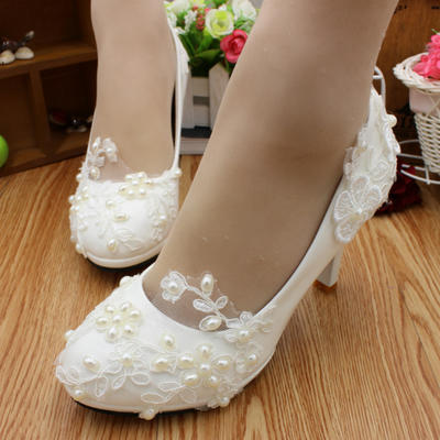 Women's Closed Toe Pumps Stiletto Heel Lace Leatherette With Imitation Pearl Applique Wedding Shoes (047209357)