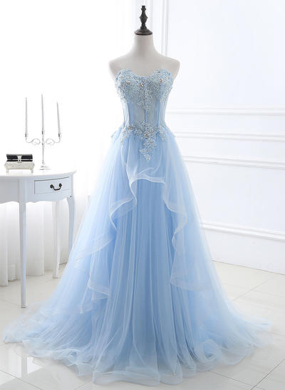 Tulle Sleeveless A-Line/Princess Prom Dresses Sweetheart Beading Appliques Lace Sequins Sweep Train (018196678)