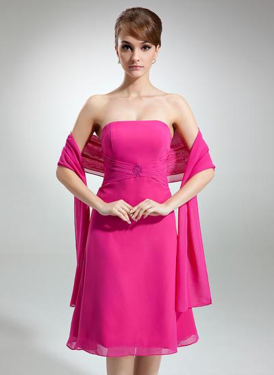 Chiffon Sleeveless A-Line/Princess Bridesmaid Dresses Strapless Ruffle Beading Knee-Length (007001814)