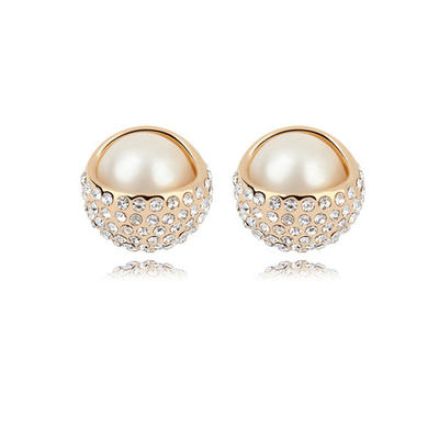Earrings Champaign Gold Plated Pearl Pierced Ladies' Wedding & Party Jewelry (011164535)