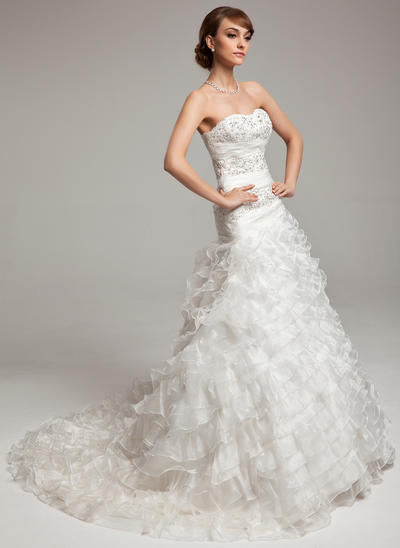 Stunning Chapel Train A-Line/Princess Wedding Dresses Sweetheart Organza Sleeveless (002196901)