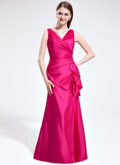 Taffeta Sleeveless Trumpet/Mermaid Bridesmaid Dresses V-neck Cascading Ruffles Floor-Length (007198035)