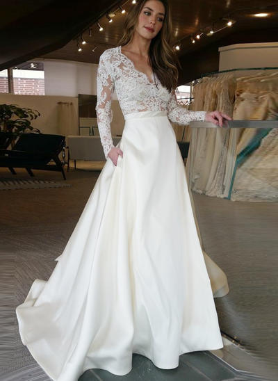 Magnificent Sweep Train A-Line/Princess Wedding Dresses V-neck Satin Long Sleeves (002147804)