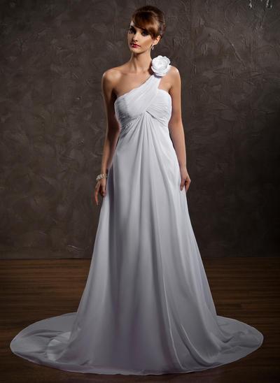 Glamorous Court Train Empire Wedding Dresses One Shoulder Chiffon Sleeveless (002211147)