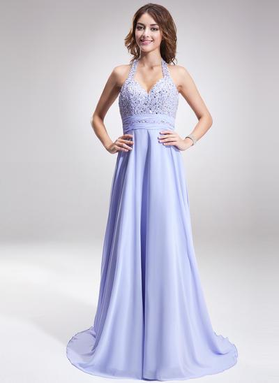 A-Line/Princess Halter Chiffon Sleeveless Sweep Train Ruffle Beading Evening Dresses (017016877)